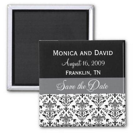 Personalized Save the Date Black Damask Magnets
