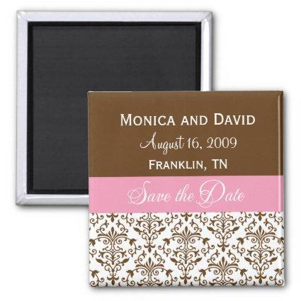 Personalized Save the Date Pink Damask Magnets