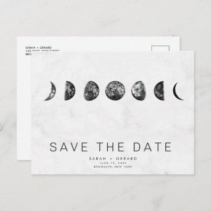 Phases of the Moon Marble Wedding Save Dates Announcement
