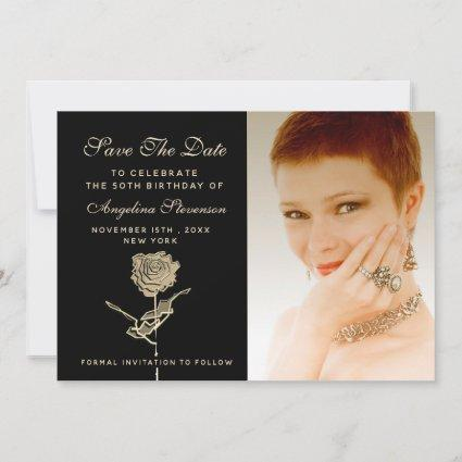 Photo 50th Birthday Chic Black Save The Date