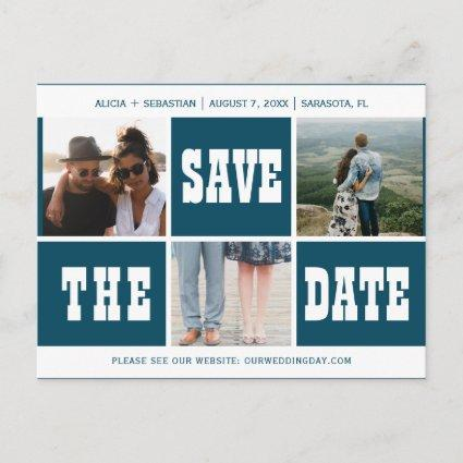 Photo collage modern typography save date wedding announcement