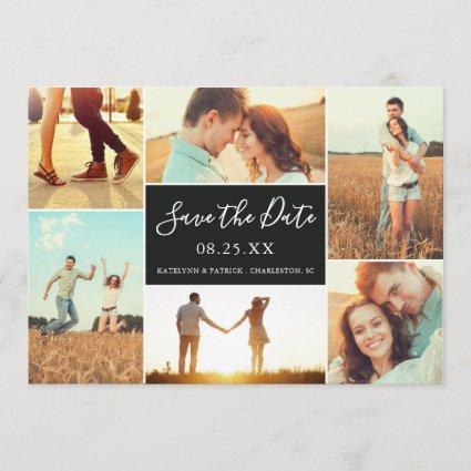 Photo Collage Save the Date Flat Card | Ebony