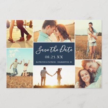 Photo Collage Save the Date Flat Cards | Navy Blue