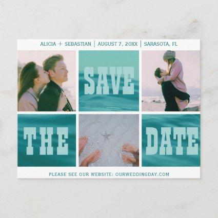 Photo collage typography save date beach wedding announcement