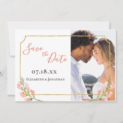 Photo Elegant Coral Floral Ombre Gold Geometric Save The Date