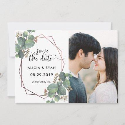 Photo eucalyptus rose gold geometric frame save the date