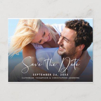 Photo Front | Blush Pink Floral Back Save the Date Announcement