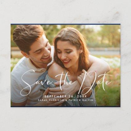Photo Front | Navy Blue Floral Back Save the Date Announcement