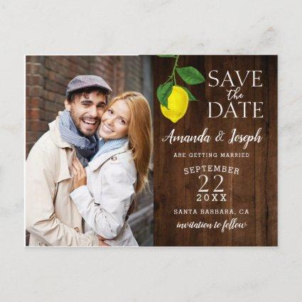 Photo Lemon Rustic Wood Save the Date | Announcement