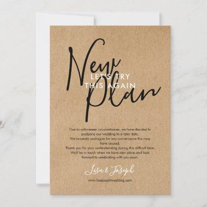 Photo New Plan Change the Date Postponed Rustic  Save The Date