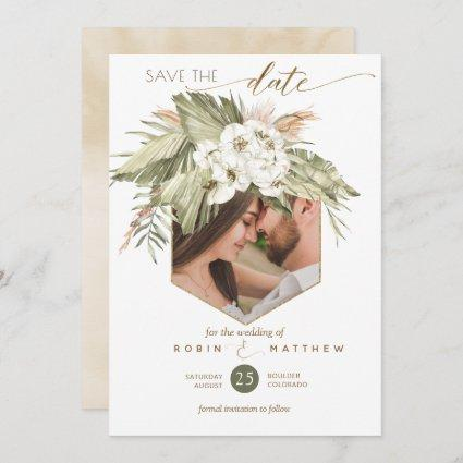 Photo, Palm Leaves Floral Cream Watercolor Save The Date