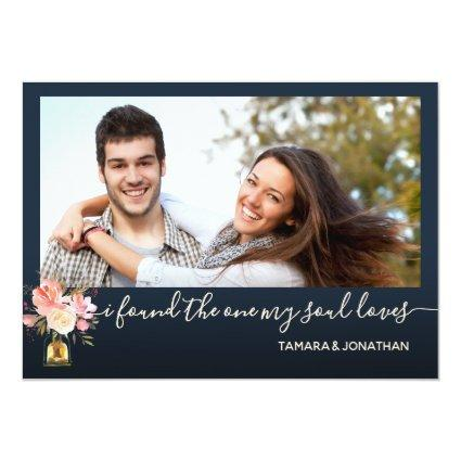 Photo Peonies Navy One My Soul Loves Save Date Invitation
