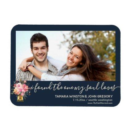 Photo Peonies Navy One My Soul Loves Save The Date Magnet