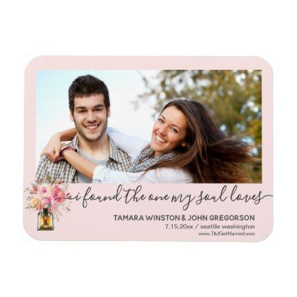 Photo Pink Peonies One My Soul Loves Save The Date Magnet