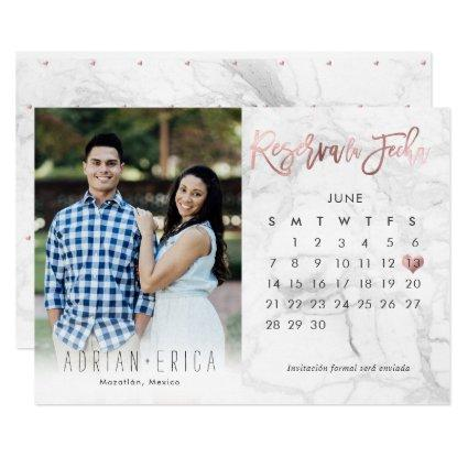 Photo Reserva la Fecha Calendario Marble Rose Gold Invitation