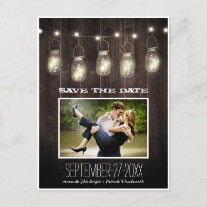 Photo Rustic Country Mason Jar Save The Date Cards
