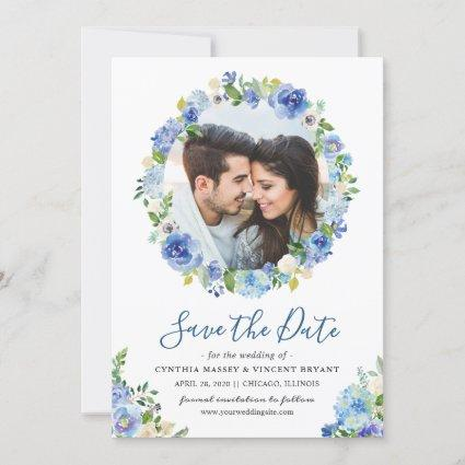 Photo Save the Date Blue Hydrangeas Floral Wreath