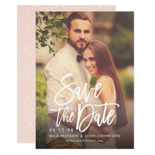 Photo Save the Date | Brush Lettered Script Card