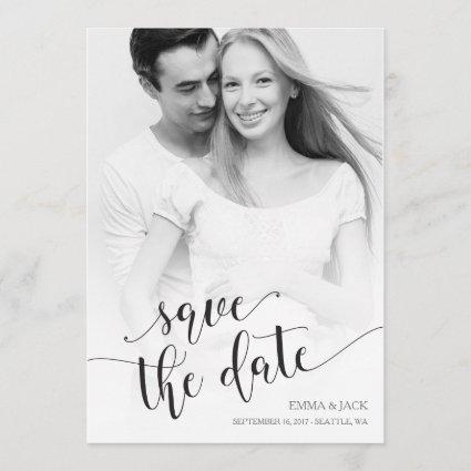 Photo Save the Date Card - B&W Calligraphy