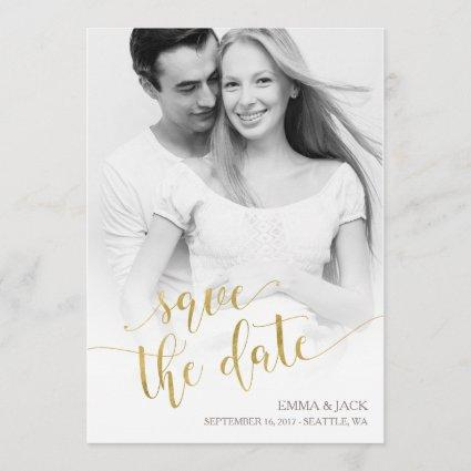 Photo Save the Date Card - Gold Calligraphy