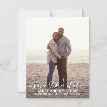 Photo Save the Date Card Rustic Calligraphy Script