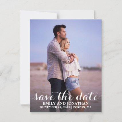 Photo Save the Date Card, White Calligraphy Script