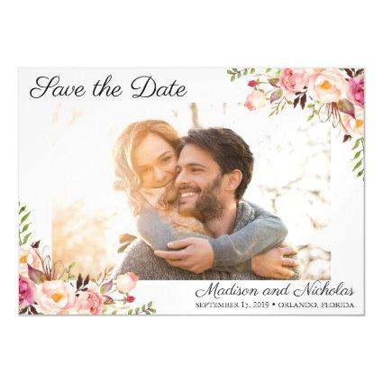 Photo Save the Date Magnets Rustic Pink Flower