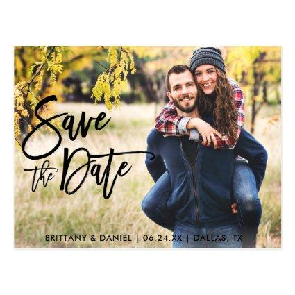 Photo Save The Date Modern Brush Script
