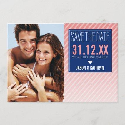 PHOTO SAVE THE DATE ombre angled stripe navy coral