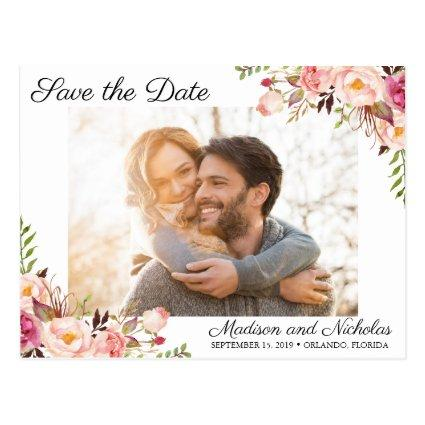 Photo Save the Date Cards Rustic Pink Flower