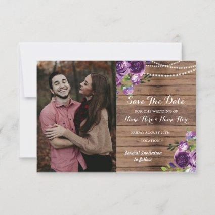 Photo Save The Date Rustic Wood Purple Flowers