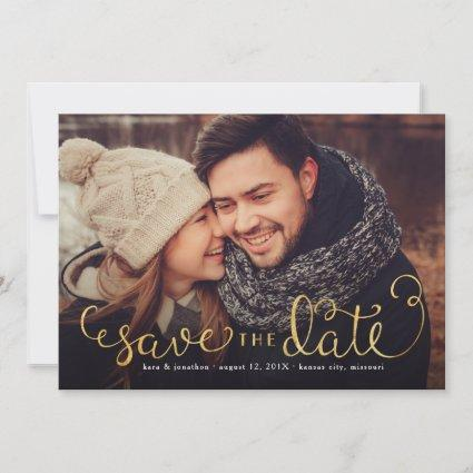 Photo Save the Dates with Faux Gold Foil Script Save The Date