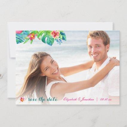 Photo Tropical Beach Berry Pink Teal Floral Ombre Save The Date