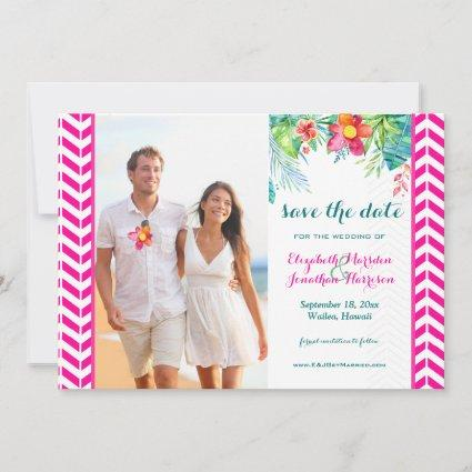 Photo Tropical Berry Pink Teal Floral Chevron Save The Date
