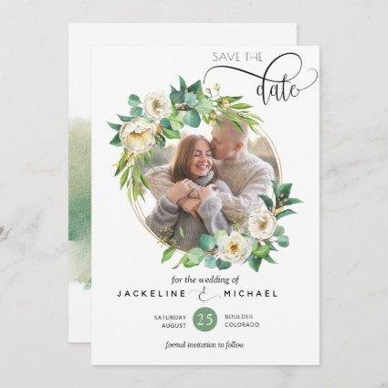 Photo, White and Greenery Wedding Save the Date