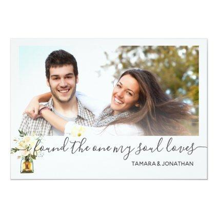 Photo White Peonies One My Soul Loves Save Date Invitation