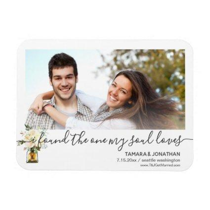 Photo White Peonies One My Soul Loves Save Date Magnet