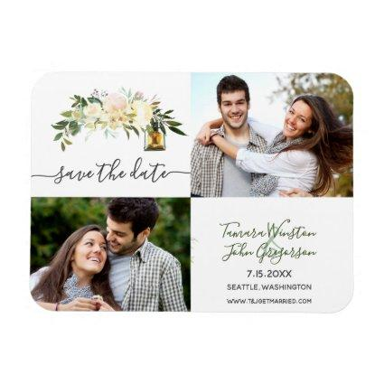 Photo White Peonies Rustic Lanterns Save The Date Magnet