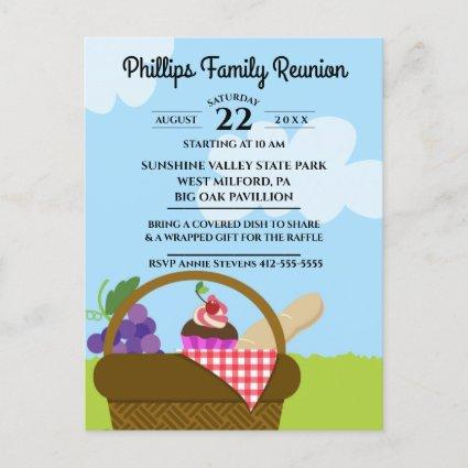 Picnic Basket Cloudy Sky Family Reunion Invitation