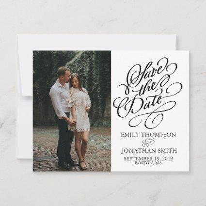 Picture Save the Date Card Vertical, Calligraphy