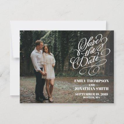 Picture Save the Date Cards Vertical, Calligraphy