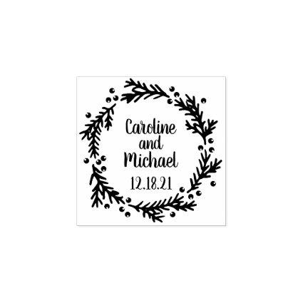 Pine and Berries Rustic Wreath   Wedding Rubber Stamp