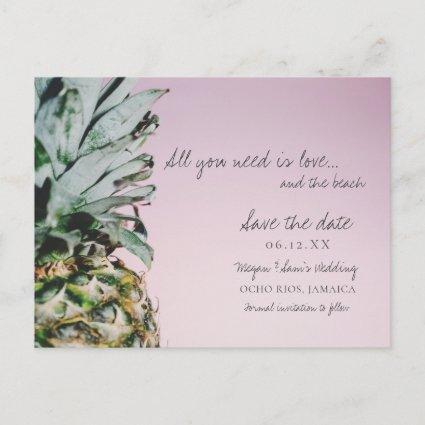 Pineapple Love and the Beach Wedding Save the Date Announcement