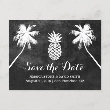 Pineapple Palm Tree Tropical Chalk Save the Date Announcement