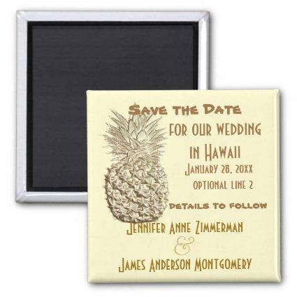 Pineapple Save the Date Classic Yellow Gold Magnet