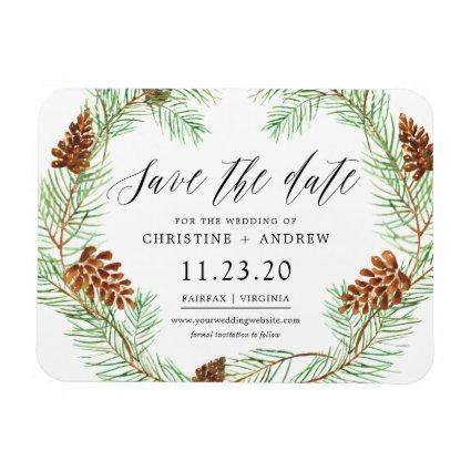 Pinecone Winter Rustic Save The Dates Magnet