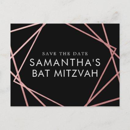 Pink and Black Modern Bat Mitzvah Save the Date Announcements Cards