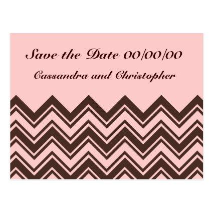 Pink and chocolate brown zigzag save the date Cards