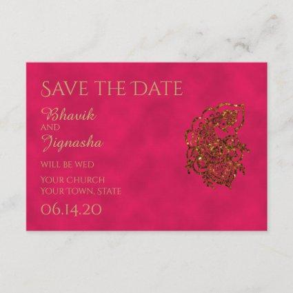 Pink and Gold Indian Wedding Save the Date