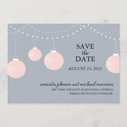 Pink and Gray Paper Lantern Wedding Save the Date
